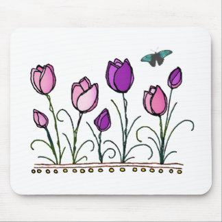 Jardín rosado y púrpura del tulipán tapete de ratón