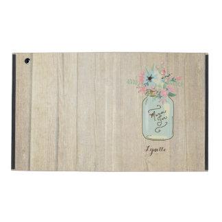 Jardín rústico de madera del tarro de albañil del  iPad cárcasas