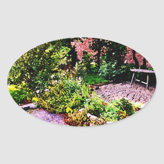 Jardín secreto en Cambridge Pegatina Ovalada