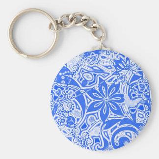 Jardín: Versión azul y blanca Llavero Redondo Tipo Pin