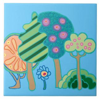 Jardín y flores retros del arte pop azulejo cuadrado grande