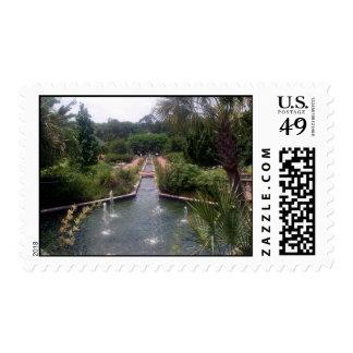 Jardín y fuente sello postal