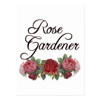 Jardinero color de rosa que dice con los rosas postales