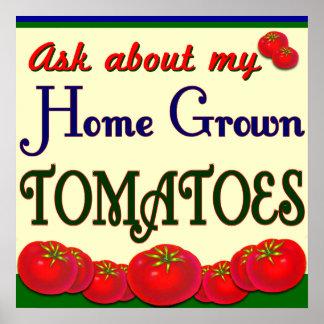 Jardinero de cosecha propia del tomate que dice el poster