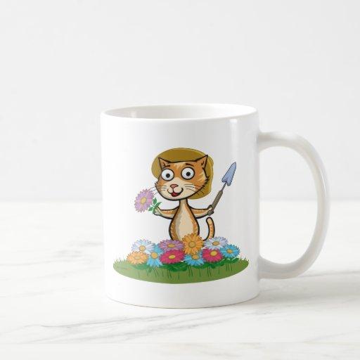 Jardinero de la flor del gato taza