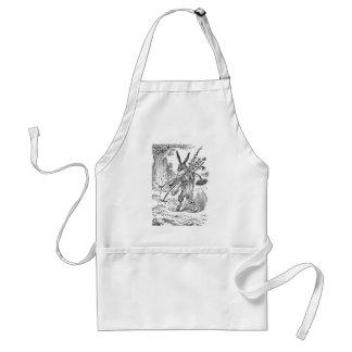 Jardinero del conejo con la pala y las plantas des delantal