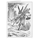 Jardinero del conejo con la pala y las plantas des tarjeta
