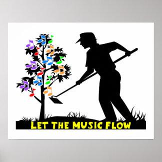 Jardinero del flujo de la música póster