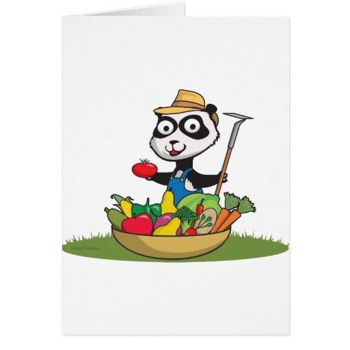Jardinero del oso de panda tarjeta de felicitación