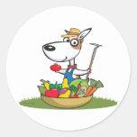 Jardinero del perro pegatina redonda