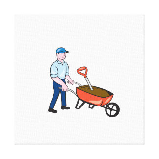 Jardinero que empuja el dibujo animado de la lona envuelta para galerías