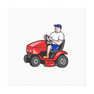 Jardinero que siega el dibujo animado del cortacés lienzo envuelto para galerías