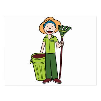 Jardinero que sostiene Trashcan y el rastrillo Postales