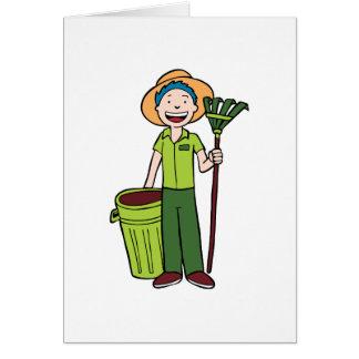 Jardinero que sostiene Trashcan y el rastrillo Tarjeta De Felicitación