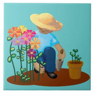 Jardinero y flores azulejo cuadrado grande
