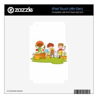Jardineros que plantan el árbol y la flor en calcomanías para iPod touch 4G