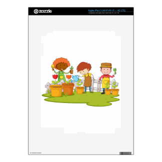 Jardineros que plantan el árbol y la flor en iPad 3 skin
