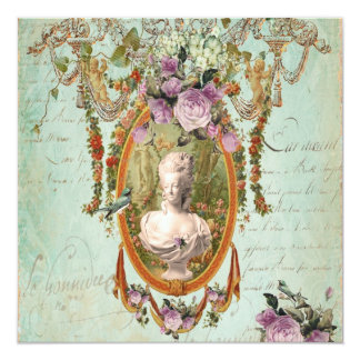 """Jardines antiguos de Marie Antonieta Versalles Invitación 5.25"""" X 5.25"""""""