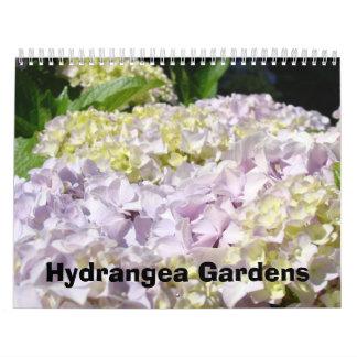 Jardines azules del Hydrangea del rosa de la fotog Calendario