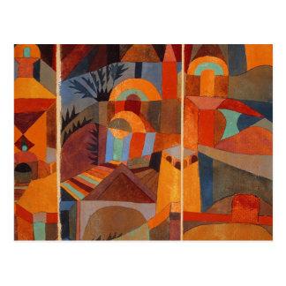 Jardines coloridos del templo del extracto del tarjeta postal