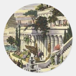 Jardines de colgante de Babilonia de Maerten van Pegatina Redonda
