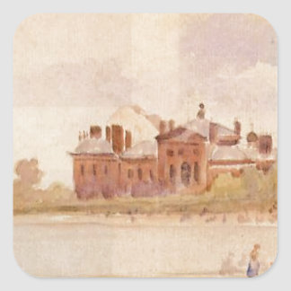 Jardines de Kensington de Camille Pissarro Pegatina Cuadrada