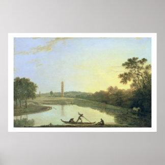 Jardines de Kew: La pagoda y el puente, 1762 (acei Poster