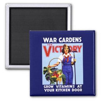 Jardines de la guerra para la victoria imán cuadrado