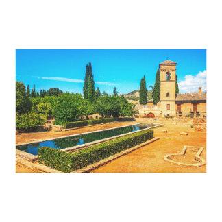 Jardines del La Alhambra en Granada, España Impresión En Lienzo Estirada