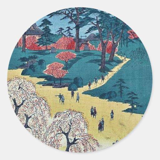 Jardines del templo, Nippori por Andō, Hiroshige Pegatina Redonda