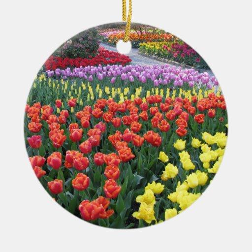 Jardines del tulipán adornos