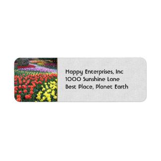 Jardines del tulipán etiquetas de remite