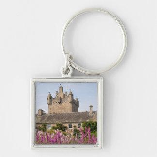 Jardines hermosos y castillo famoso en Escocia 2 Llavero Cuadrado Plateado