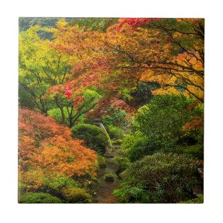 Jardines japoneses en otoño en Portland, Oregon 2 Azulejo Cuadrado Pequeño