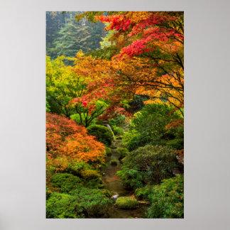 Jardines japoneses en otoño en Portland, Oregon 2 Póster