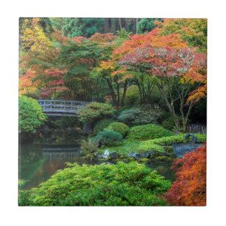 Jardines japoneses en otoño en Portland, Oregon 3 Azulejo Cuadrado Pequeño