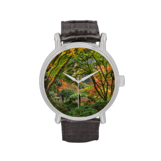 Jardines japoneses en otoño en Portland, Oregon 4 Reloj