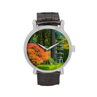 Jardines japoneses en otoño en Portland, Oregon Reloj De Mano