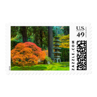 Jardines japoneses en otoño en Portland, Oregon Franqueo