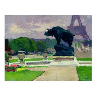 Jardines y rinoceronte de Trocadero por Jacquemart Tarjeta Postal