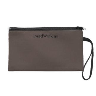 JaredWatkins dark brown logo wristlet Wristlet
