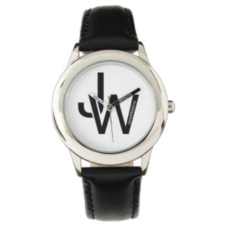 JaredWatkins kids black leather strap logo watch