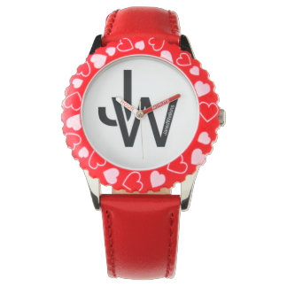 JaredWatkins kids red leather strap logo watch