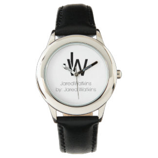 JaredWatkins logo kids black leather strap watch