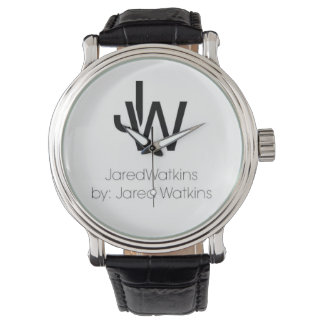 JaredWatkins logo leather strap watch