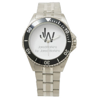 JaredWatkins logo stainless steel watch