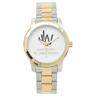 JaredWatkins logo two-tone watch