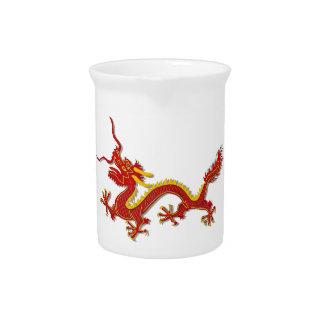 Jarra china de las bebidas del dragón del rojo y d