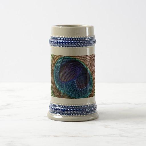Jarra de cerveza azul de la foto de la pluma del p taza