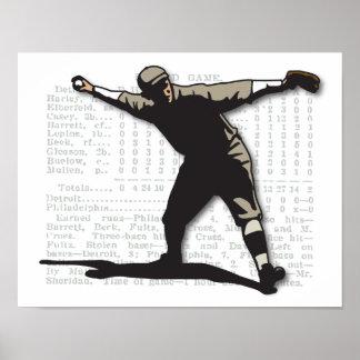 Jarra del béisbol del vintage póster